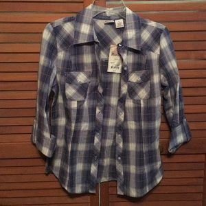 Mudd Blue and white button down.